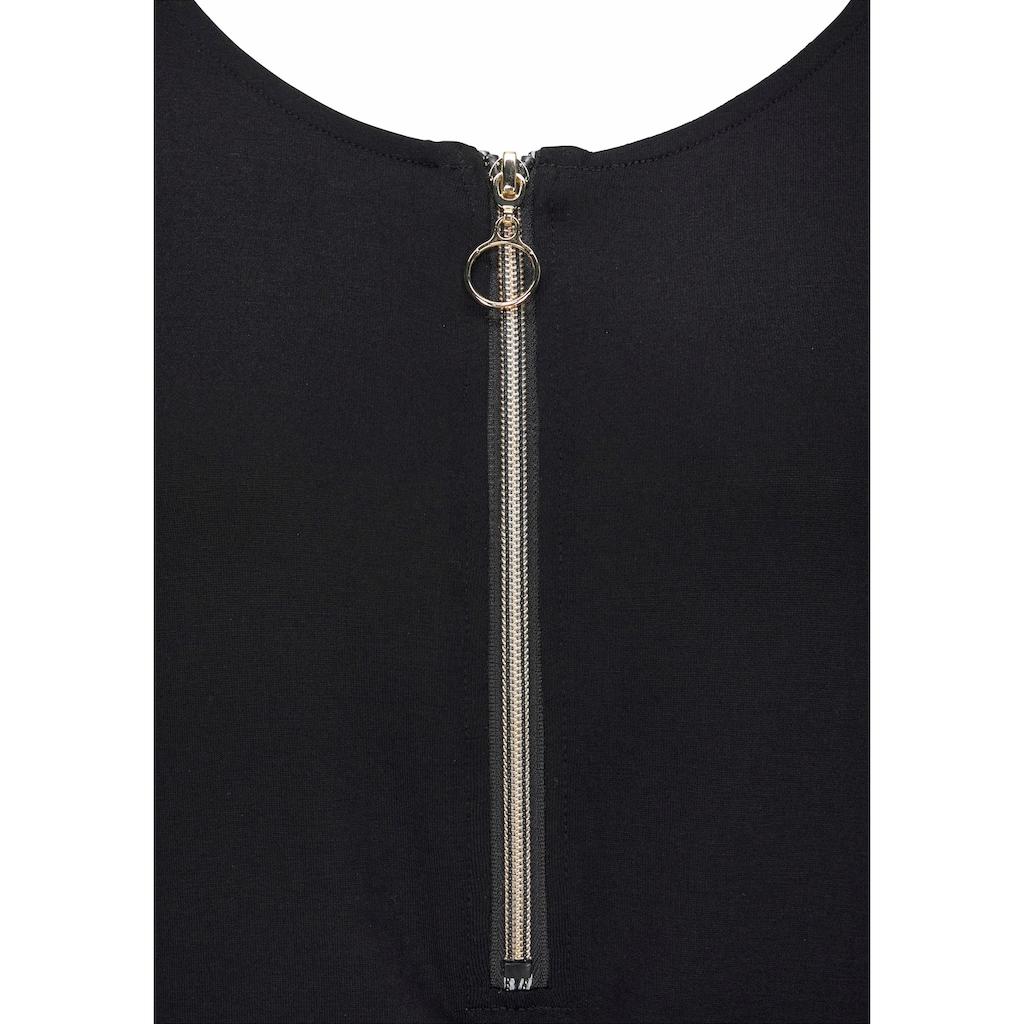 LASCANA Jerseykleid, mit goldfarbenem Reißverschlussdetail