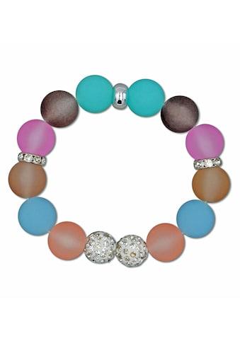 J.Jayz Armband »Kugelarmband in Pastelltönen mit schimmernden Details«, mit Kunststoffsteinen und Glassteinen kaufen