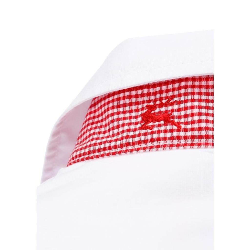 OS-Trachten Trachtenbluse, mit Kontrastband in Karooptik mit Hirschstickerei