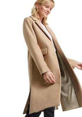 beiger Damen-Wintermantel aus Wolle