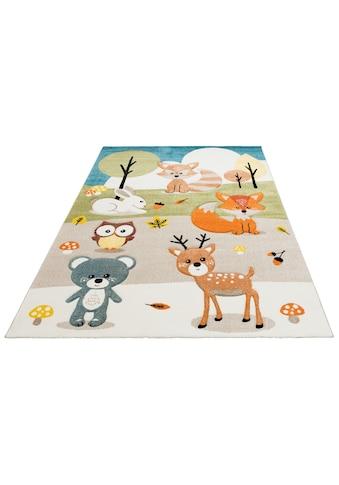 Lüttenhütt Kinderteppich »Wald«, rechteckig, 13 mm Höhe, Pastellfarben, handgearbeiteter Konturenschnitt kaufen