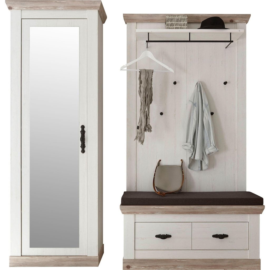 Home affaire Garderoben-Set »Florenz«, (3 tlg.), bestehend aus 1 Bank plus Sitzkissen, 1 Paneel und 1 Stauraumschrank mit Spiegel