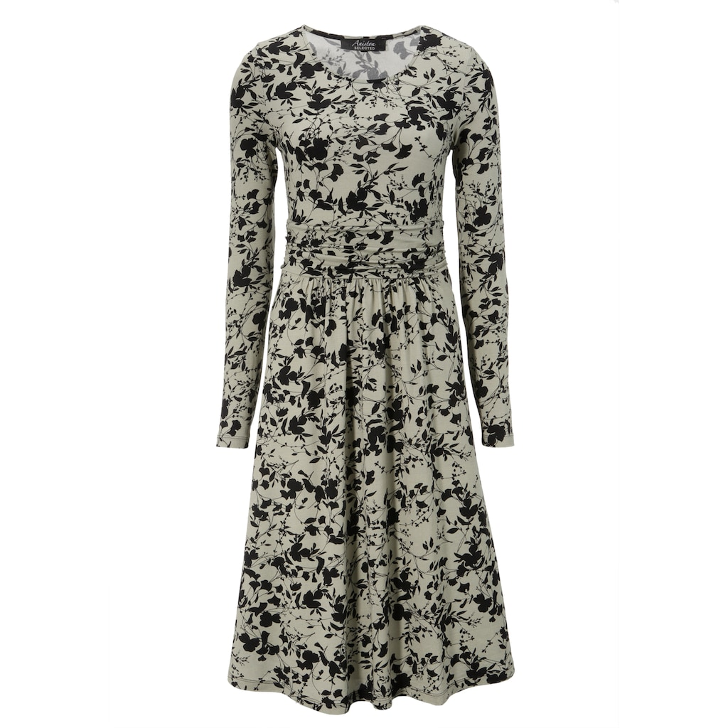 Aniston SELECTED Jerseykleid, mit Raffung am Taillenbund