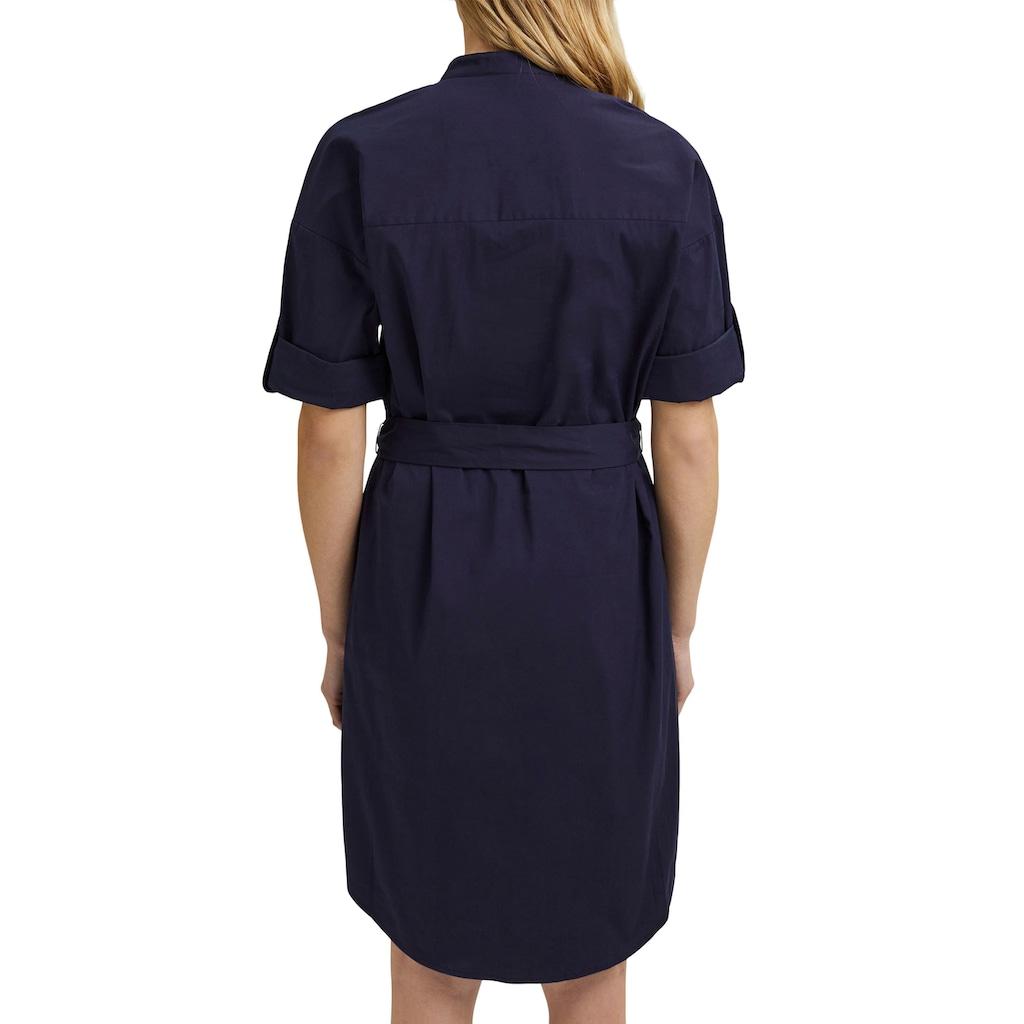 Esprit Collection Hemdblusenkleid, mit verdeckter Knopfleiste und Gürtel zum Binden