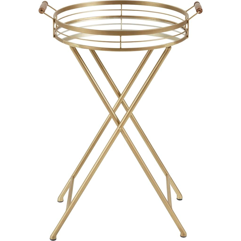 Leonique Beistelltisch »Marième«, mit Ablagefläche aus Spiegelglas, goldfarbenes Gestell