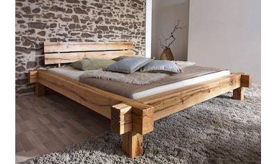 Massivholzbett, (Set), wahlweise mit Bettkasten, aus massivem Wildeichenholz in... kaufen