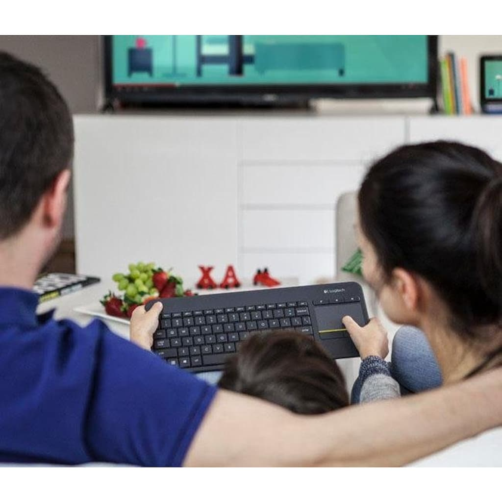 Logitech Tastatur »Wireless Touch Keyboard K400 Plus«, (Antirutsch-Füße-Lautstärkeregler-Touchpad)