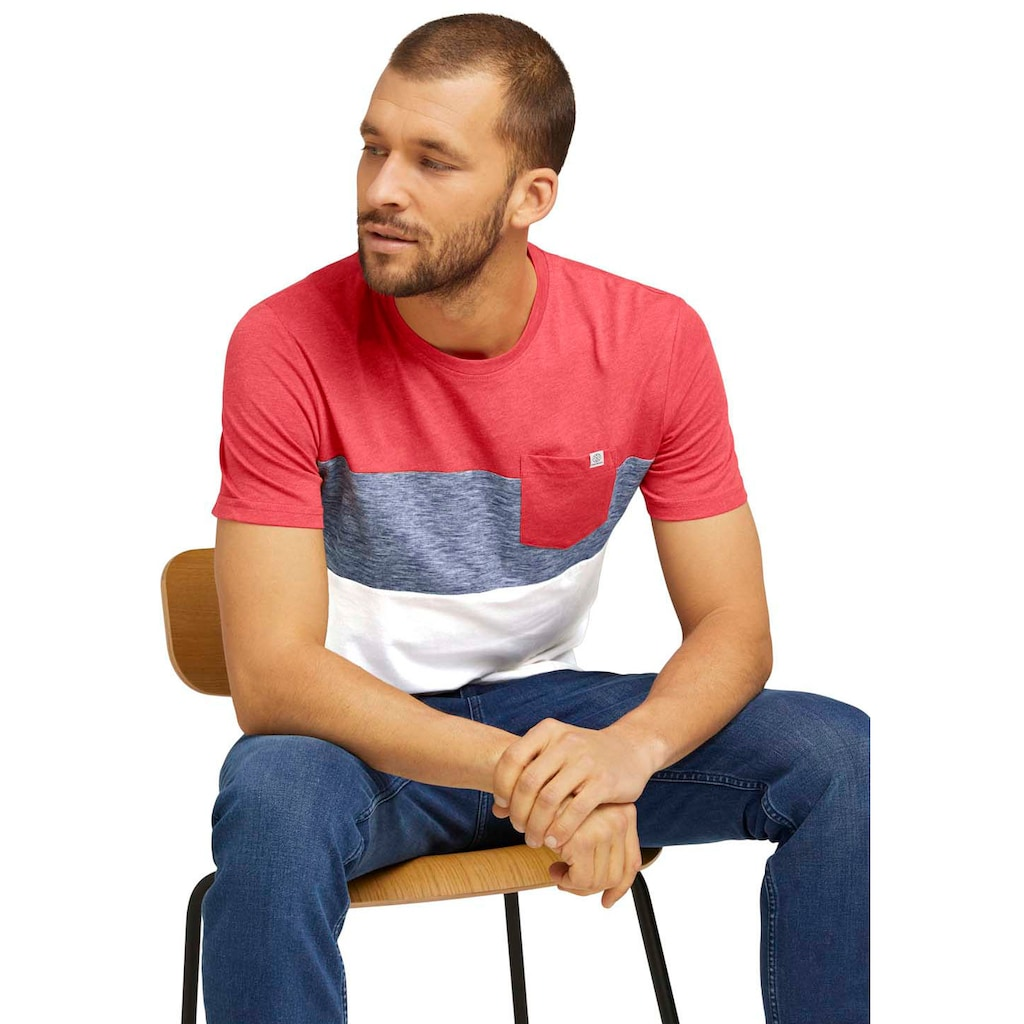 TOM TAILOR Rundhalsshirt, mit Blockstreifen