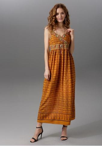 Aniston CASUAL Maxikleid, mit bestickten Bordüren verziert kaufen