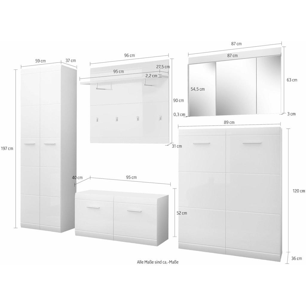 GERMANIA Garderoben-Set »Adana«, (Set, 5 St.), Farbe weiß mit Hochglanz Fronten