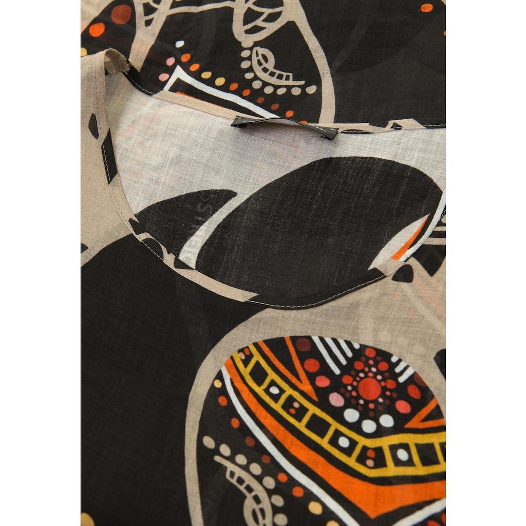 Doris Streich Schlupfbluse »mit Animal-Ethno-Print«, Kontrastverarbeitung