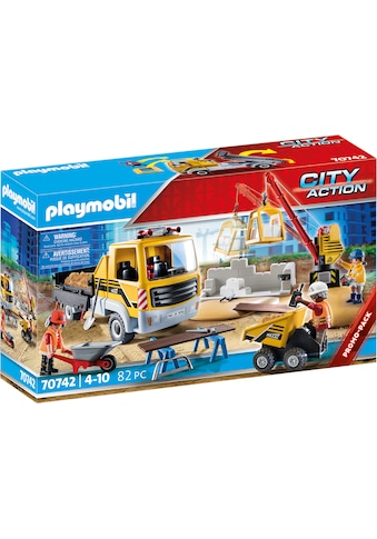 Playmobil® Konstruktions-Spielset »Baustelle mit Kipplaster (70742), City Action«, (82... kaufen