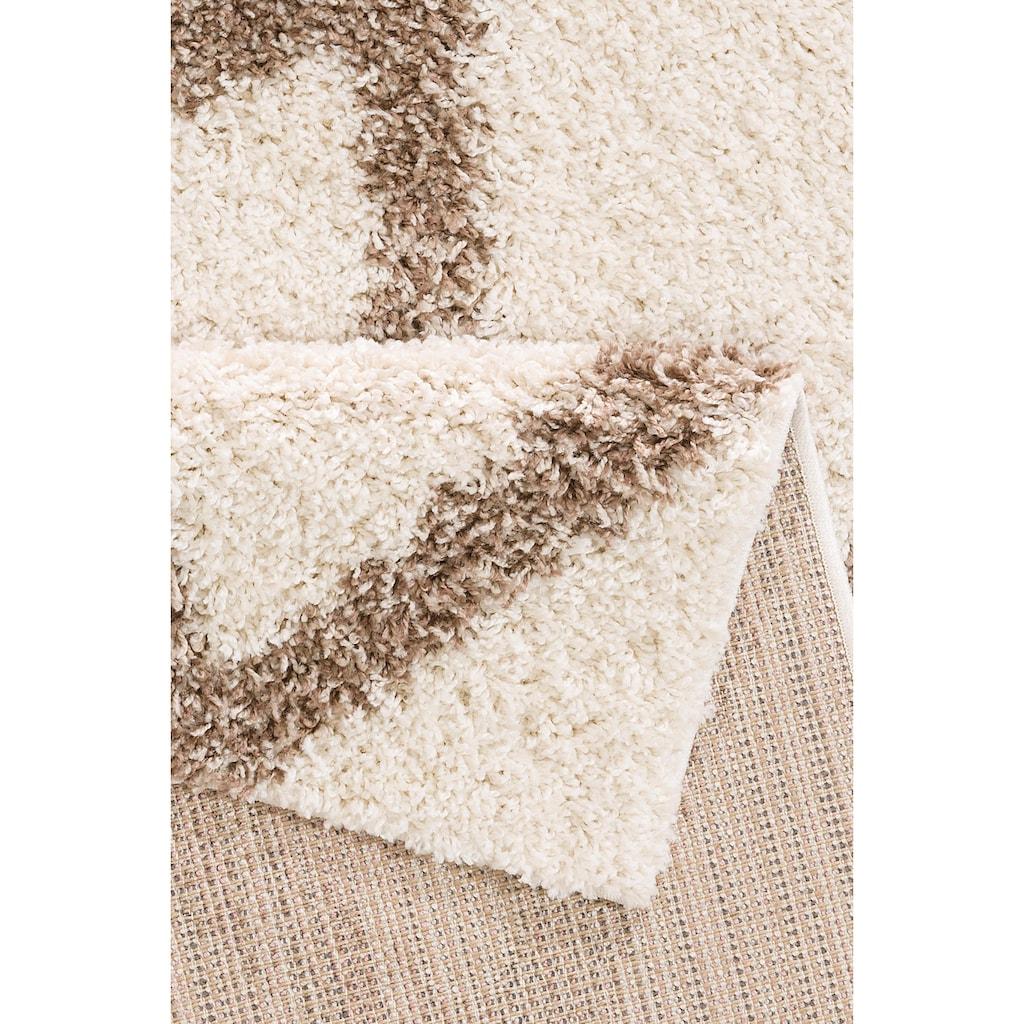 my home Hochflor-Teppich »Linz«, rechteckig, 31 mm Höhe, dichter Flor, Rauten Design, Wohnzimmer