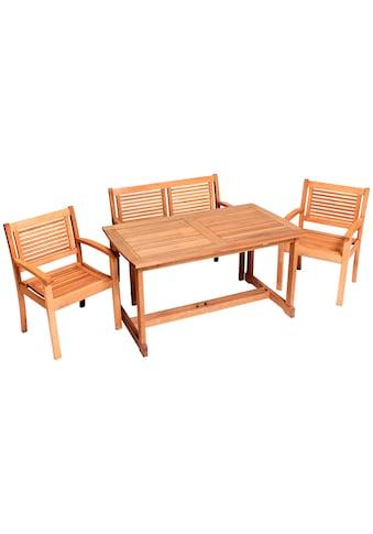 MERXX Gartenmöbelset »Cordoba«, 4tlg., 2 Sessel, Bank, Tisch, Eukalyptusholz kaufen