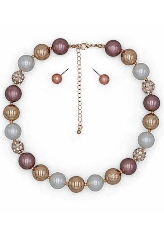 J.Jayz Ohrring und Ketten Set »mit auffallend großen Perlen«, mit Kunststoffperlen und Glassteinen kaufen