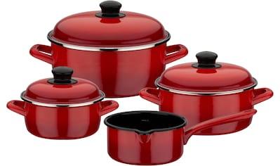 GSW Topf-Set »Red Shadow«, Emaille, (Set, 7 tlg.), Induktion kaufen