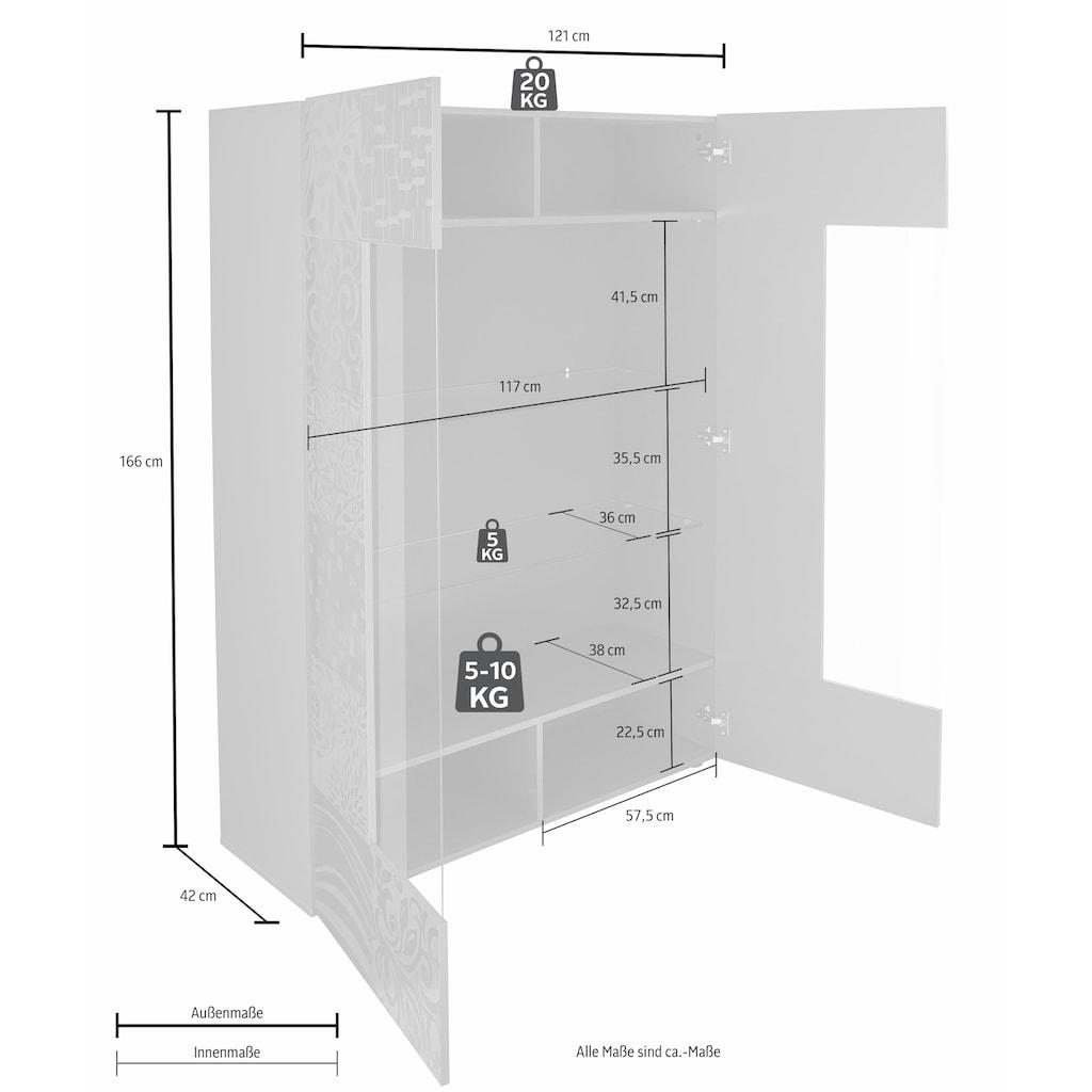 LC Stauraumvitrine »Miro«, Stauraumvitrine, Höhe 166 cm mit dekorativem Siebdruck