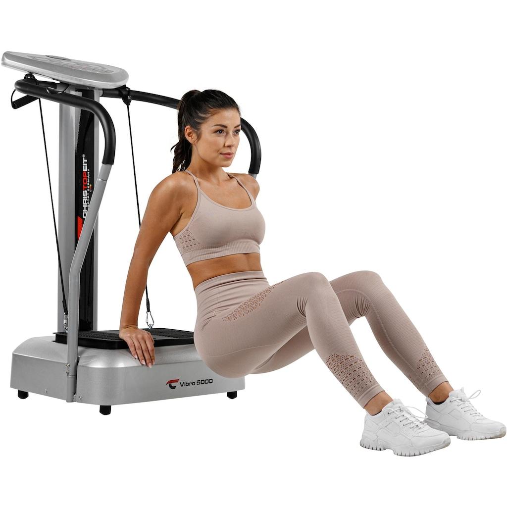 Christopeit Sport® Vibrationsplatte »Vibro 5000«, 500 W, 50 Intensitätsstufen, (mit Trainingsbändern), Körperfett Analyse über Handsensoren