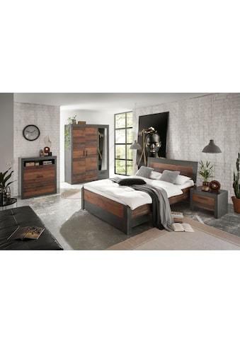 Home affaire Schlafzimmer-Set »BROOKLYN«, (Set, Einzelbett mit Holzkopfteil, Bettschubkasten, Nachtkommode, Kleiderschrank 3 trg., Kommode), in dekorativer Rahmenoptik kaufen