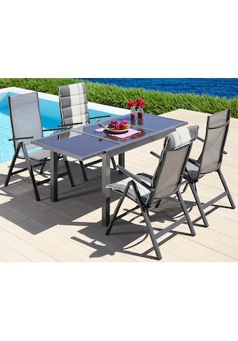 MERXX Gartenmöbelset »Amalfi«, 5 - tlg., 4 Klappsessel, Tisch 90x120 - 180cm, Alu/Textil kaufen