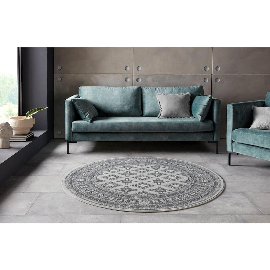 NOURISTAN Teppich »Sao Buchara«, rund, 9 mm Höhe, Kurzflor, Orient-Optik, Wohnzimmer