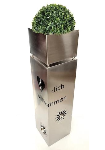HGD Holz - Glas - Design Metallsäule aus Edelstahl mit Schriftzug kaufen