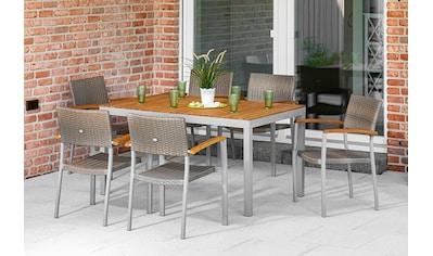 MERXX Gartenmöbelset »Silano«, (7 tlg.), 6 Stapelsessel mit Armlehnen, Tisch,... kaufen