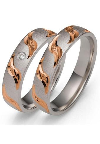 Firetti Trauring mit Gravur »rhodiniert, quer gebürstet, Diamantschnitt in Wellenform,... kaufen