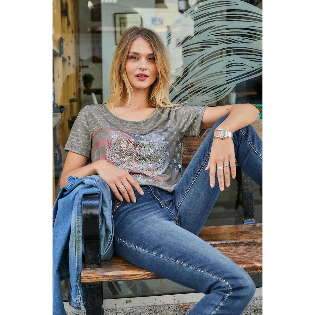 Aniston CASUAL T-Shirt, mit Steinchen-Verzierung