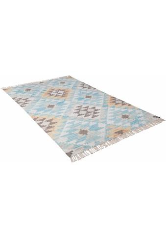 TOM TAILOR Teppich »Check Kelim«, rechteckig, 5 mm Höhe, Boho-Style, handgewebt, mit Fransen, Wohnzimmer kaufen