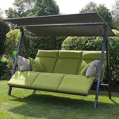 graue Hollywoodschaukel mit grünen Sitzpolstern