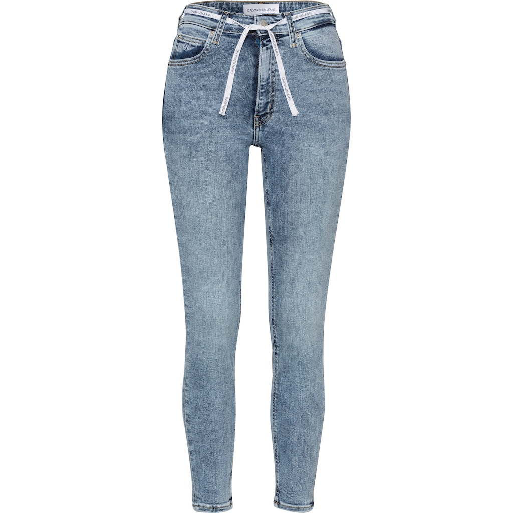 Calvin Klein Jeans Skinny-fit-Jeans »HIGH RISE SKINNY ANKLE«, mit Calvin Klein Jeans Stickerei am Hosensaum und Calvin Klein Jeans Schnürsenkel am Bund