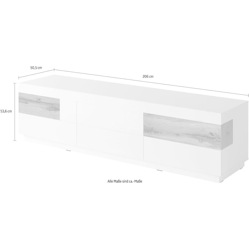 TRENDMANUFAKTUR Lowboard »SILKE«, Breite 206 cm, Hochglanzfronten