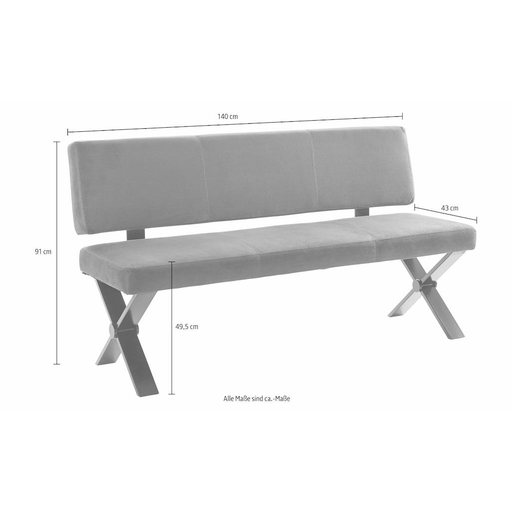 Homexperts Essgruppe »Colt«, (Set, 5 tlg.), Tisch, Breite 140 cm, 2 Bänke, Breite je 140 cm und 2 Freischwinger, Microfaserbezug in Vintage-Optik