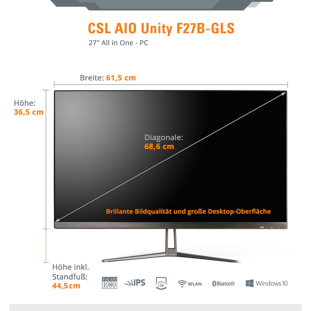 CSL All-in-One PC »Unity F27-GLS mit Windows 10 Home«