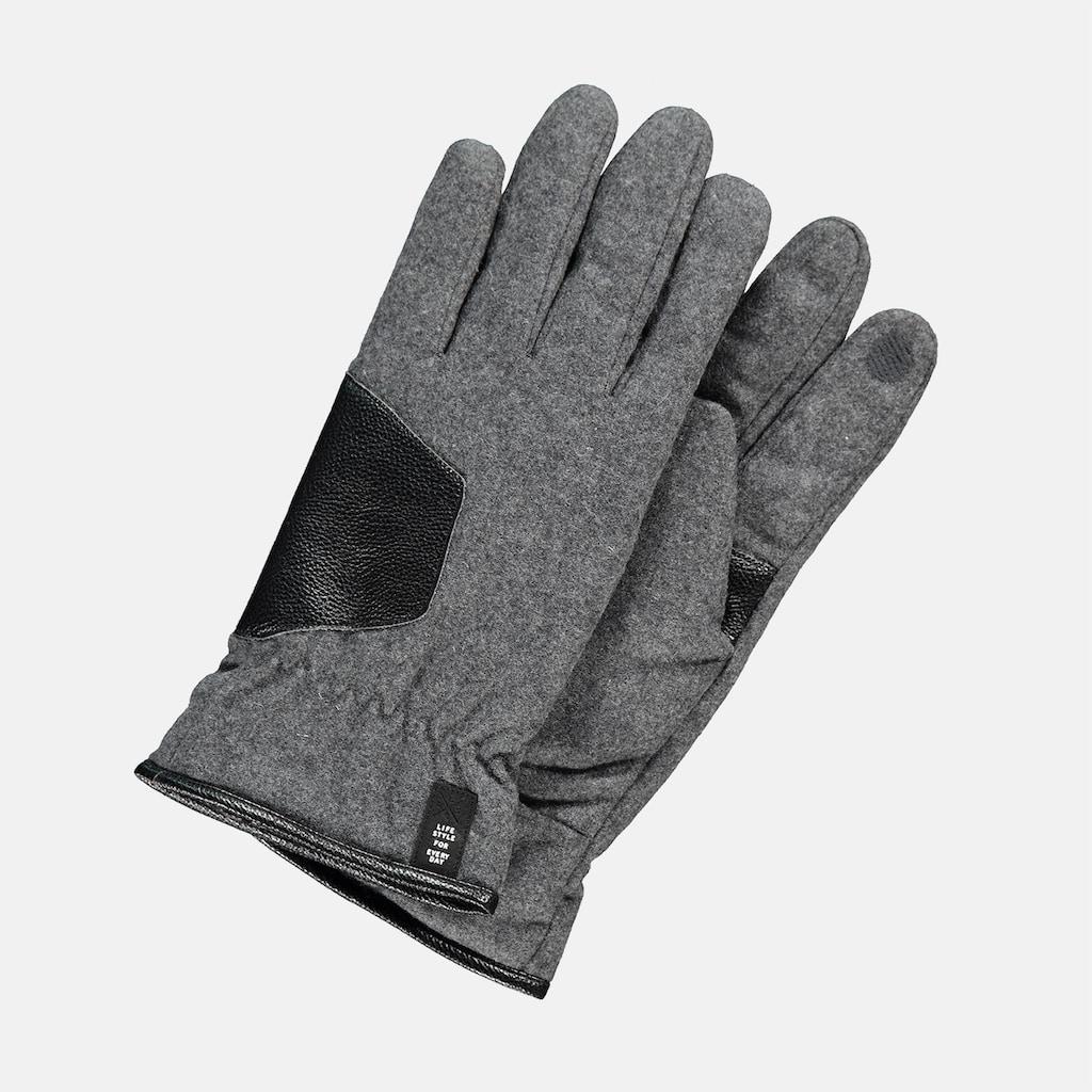LERROS Fleecehandschuhe, mit Kunstlederbesatz