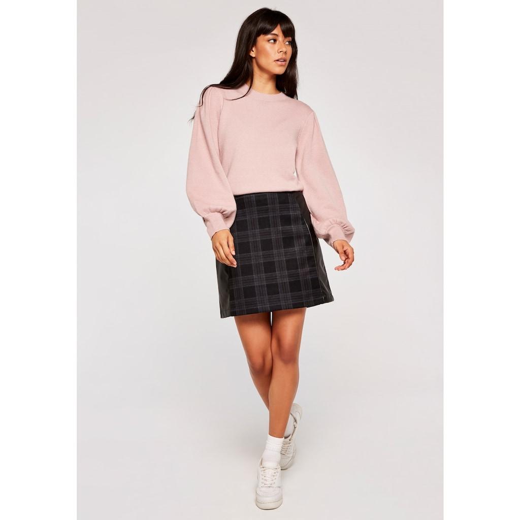 Apricot Karorock »Plaid Ponti PU Panelled Skirt«, mit Lederoptikeinsätzen