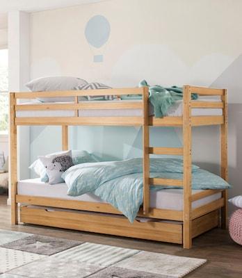 Etagenbett aus hellem Holz