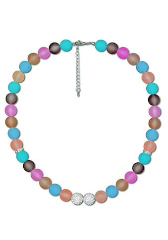 J.Jayz Lange Kette »Kugelkette in bunter Farbgebung mit funkelnden Details«, mit Kunststoffsteinen und Glassteinen kaufen