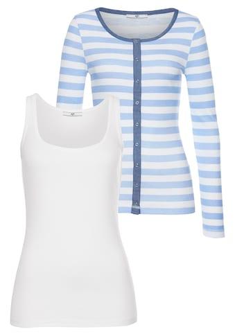 AJC Shirtjacke, Shirtjacke im angesagten Streifenlook oder Uni, im Set mit Top kaufen