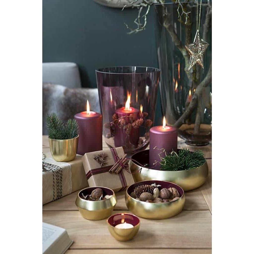 Fink Dekoschale »MAYLA, goldfarben«, Schale aus Metall, rund, handgefertigt, erhältlich in verschiedenen Größen, Wohnzimmer