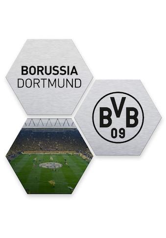 Wall-Art Mehrteilige Bilder »Silber BVB Borussia Dortmund«, (Set, 3 St.) kaufen