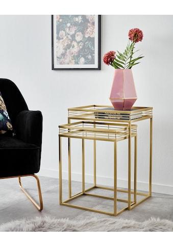 Leonique Beistelltisch »Yanis«, (2 St.), mit Ablageflächen aus Spiegelglas und goldfarbenem Metallgestell kaufen