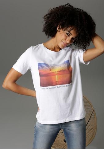 Aniston CASUAL T-Shirt, mit Sonnenuntergans-Motiv und Statementschirftzug - NEUE... kaufen