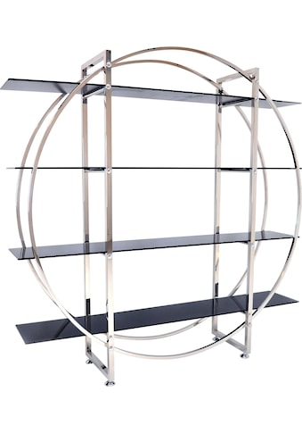 Leonique Regal »Circle«, mit vier Ablageflächen aus Glas und trendigem Chromgestell kaufen