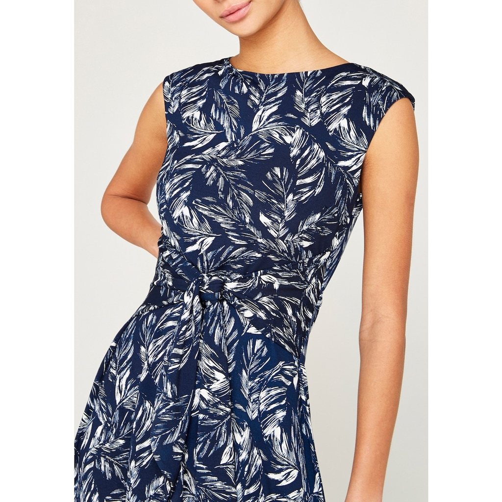 Apricot Druckkleid »Feather Leaf Print Tie Front Dress«
