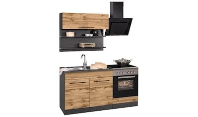 HELD MÖBEL Küchenzeile »Tulsa«, mit E-Geräten, Breite 160 cm, schwarze Metallgriffe,... kaufen