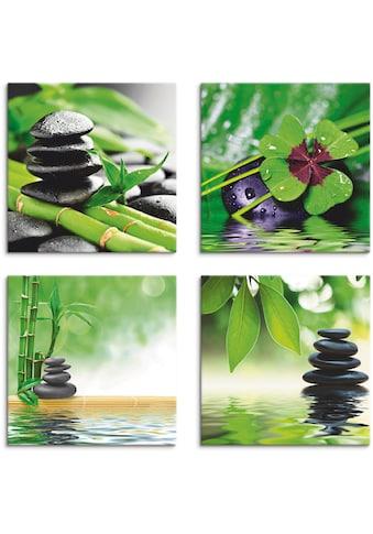 Artland Leinwandbild »Glücksklee Zen Steinpyramide Wasser«, Zen, (4 St.) kaufen