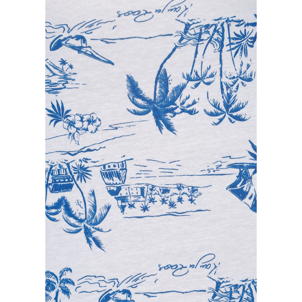 KangaROOS V-Shirt, mit tropischem Palmen Allover-Print