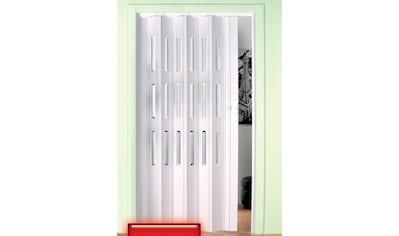Falttür, Höhe nach Maß, weiß mit Fenstern im Facettenschliff kaufen